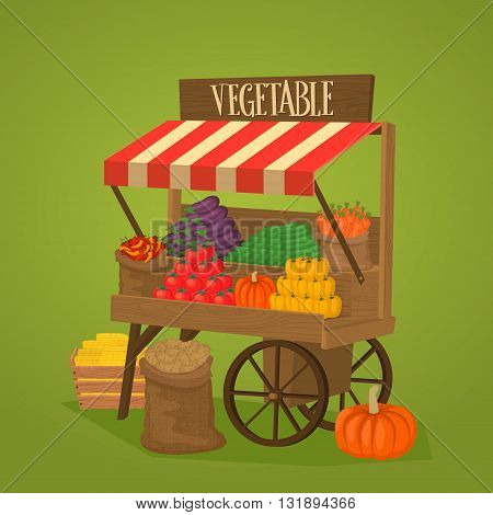 Street shop on wheels with vegetables and fruits. Vector illustration.