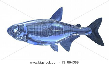 3d Illustration blue glass fish isolated on white background
