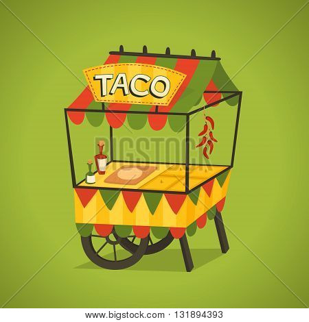 Shop on wheels selling tacos. Mexican street food concept. Vector illustration.