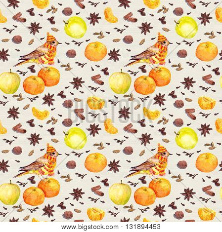 Species and fruits for cook. Repeated watercolor wallpaper.