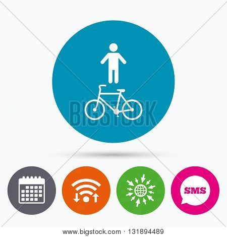 Wifi, Sms and calendar icons. Bicycle and pedestrian trail sign icon. Cycle path symbol. Go to web globe.