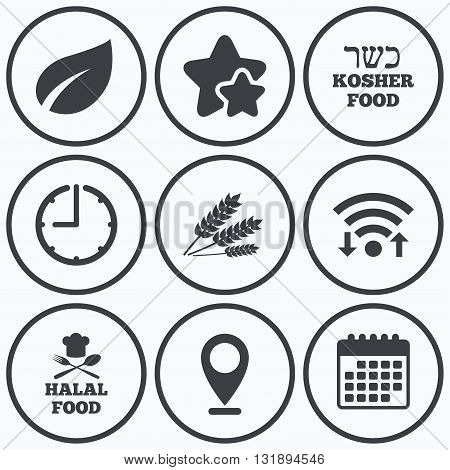 Clock, wifi and stars icons. Natural food icons. Halal and Kosher signs. Gluten free. Chief hat with fork and spoon symbol. Calendar symbol.