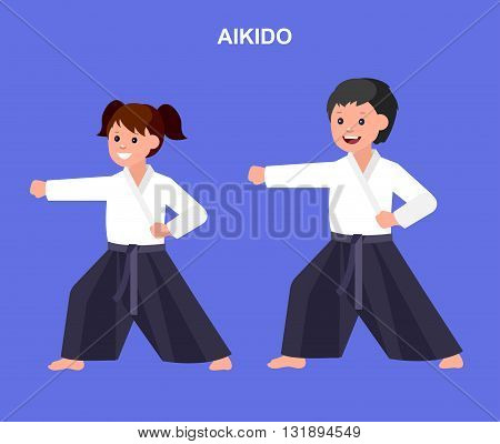 Cute vector character child. Illustration for martial art aikido poster. Kid wearing kimono and training aikido. Vector fun child. Illustration of Kid and Sport. Child take aikidofighting pose