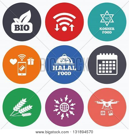 Wifi, mobile payments and drones icons. Natural Bio food icons. Halal and Kosher signs. Gluten free and star of David symbols. Calendar symbol.