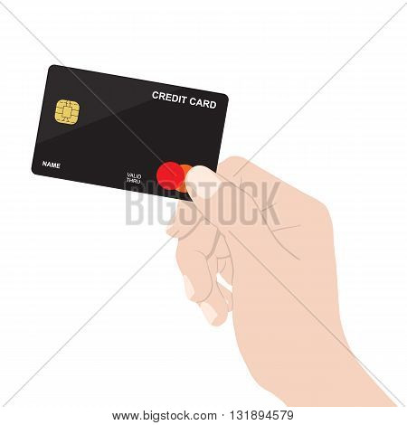 close up hand holding credit card isolated on white background vector design