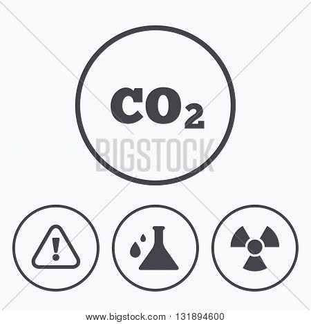 Attention and radiation icons. Chemistry flask sign. CO2 carbon dioxide symbol. Icons in circles.