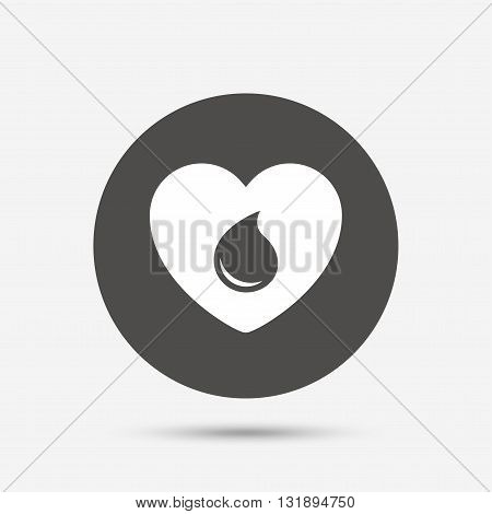 Blood donation sign icon. Medical donation. Heart with blood drop. Gray circle button with icon. Vector