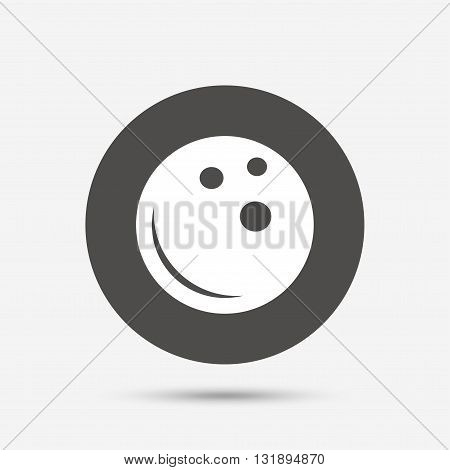 Bowling ball sign icon. Bowl symbol. Gray circle button with icon. Vector
