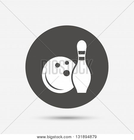 Bowling game sign icon. Ball with pin skittle symbol. Gray circle button with icon. Vector