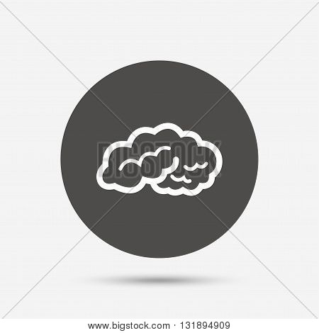 Brain sign icon. Human intelligent smart mind. Gray circle button with icon. Vector