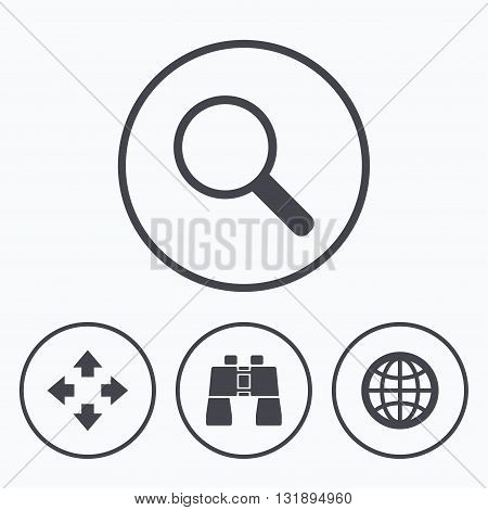 Magnifier glass and globe search icons. Fullscreen arrows and binocular search sign symbols. Icons in circles.