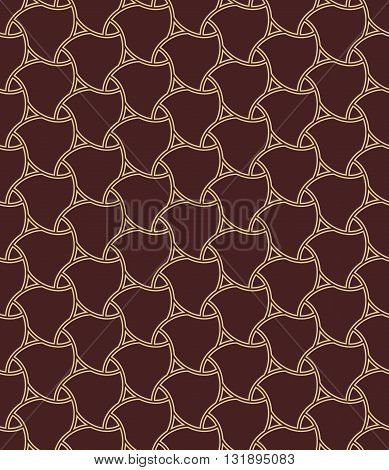 Seamless ornament. Modern geometric brown pattern with repeating golden elements