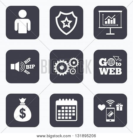 Mobile payments, wifi and calendar icons. Business icons. Human silhouette and presentation board with charts signs. Dollar money bag and gear symbols. Go to web symbol.