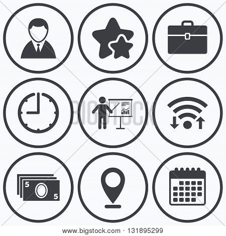 Clock, wifi and stars icons. Businessman icons. Human silhouette and cash money signs. Case and presentation with chart symbols. Calendar symbol.