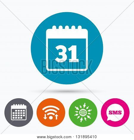 Wifi, Sms and calendar icons. Calendar sign icon. Date or event reminder symbol. Go to web globe.