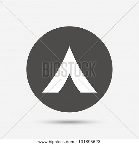Tourist tent sign icon. Camping symbol. Gray circle button with icon. Vector