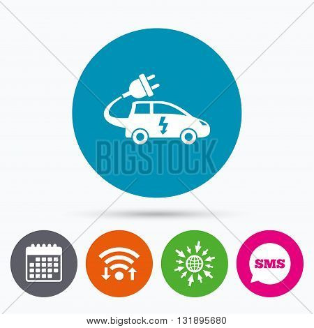 Wifi, Sms and calendar icons. Electric car sign icon. Hatchback symbol. Electric vehicle transport. Go to web globe.