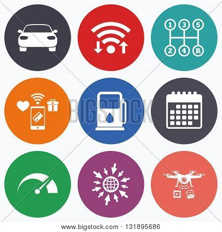 Wifi, mobile payments and drones icons. Transport icons. Car tachometer and manual transmission symbols. Petrol or Gas station sign. Calendar symbol.