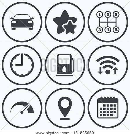 Clock, wifi and stars icons. Transport icons. Car tachometer and manual transmission symbols. Petrol or Gas station sign. Calendar symbol.