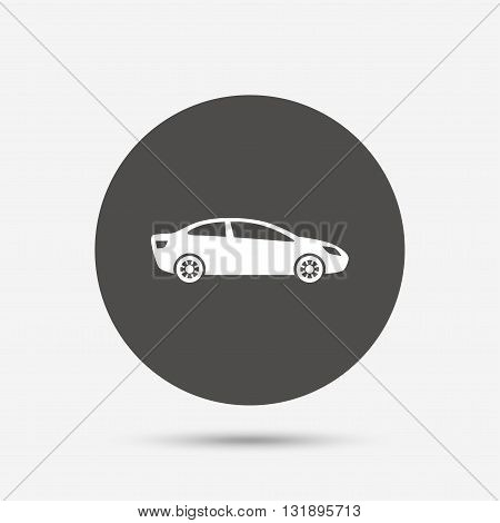 Car sign icon. Sedan saloon symbol. Transport. Gray circle button with icon. Vector