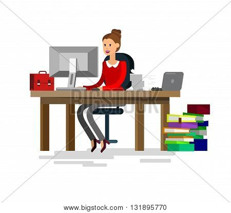 Vector detailed character corporate business team people  sitting behind desk. Office worker. Women, cool flat  illustration. Vector business Office worker character