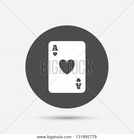 Casino sign icon. Playing card symbol. Ace of hearts. Gray circle button with icon. Vector