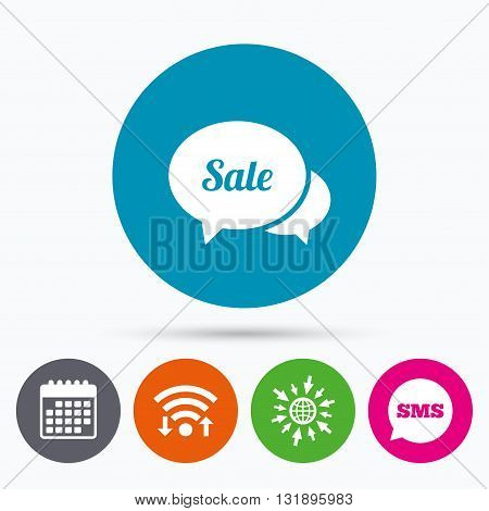 Wifi, Sms and calendar icons. Speech bubble Sale sign icon. Special offer symbol. Go to web globe.