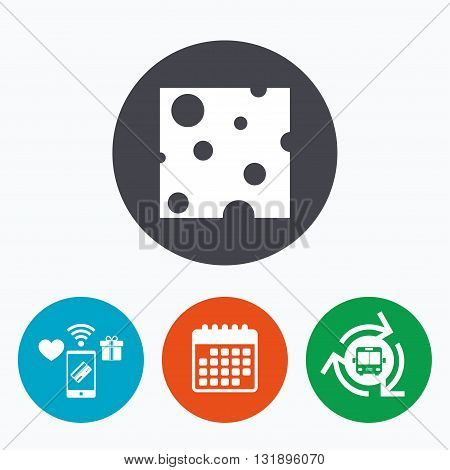 Cheese sign icon. Slice of cheese symbol. Square cheese with holes. Mobile payments, calendar and wifi icons. Bus shuttle.