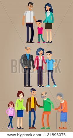 Detailed character people family. Stages of life of  family, young couple, first date, first baby, old parents and adult son. Vector family character. Illustration family people
