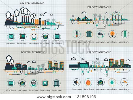 Set of the infographic template. The power supply of town by coal stations.