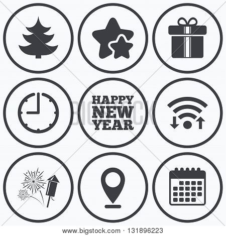 Clock, wifi and stars icons. Happy new year icon. Christmas tree and gift box signs. Fireworks rocket symbol. Calendar symbol.