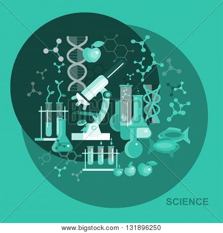 Biotechnology science icons concept, composition of genetic engineering science, nanotechnology science and genetic modification science with microscope