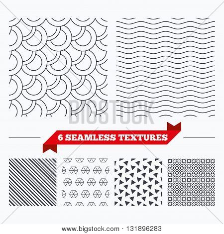 Diagonal lines, waves and geometry design. Circles texture. Stripped geometric seamless pattern. Modern repeating stylish texture. Material patterns.