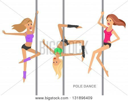 Vector detailed character Fit woman dancing around the pole. Pole dance training. Happy and sporty woman. illustration. Pole dance training for sexy woman