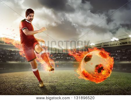 Asian Football Player Kick Fire Ball