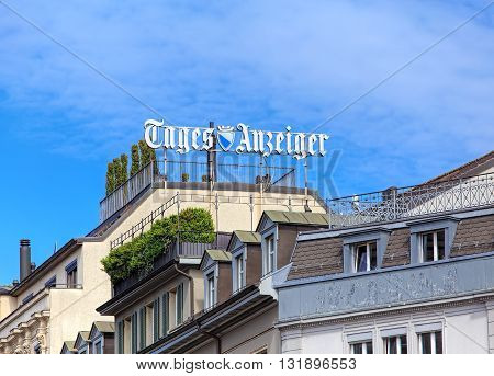 Zurich, Switzerland - 26 May, 2016: roofs of buildings on Ramistrasse street and sign of the