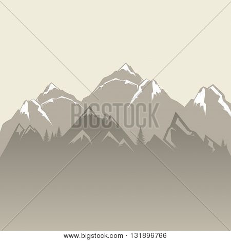 Design vector illustration of mountains and forests. Mountain landscape. Vector Silhouettes Of Mountains Backgrounds.