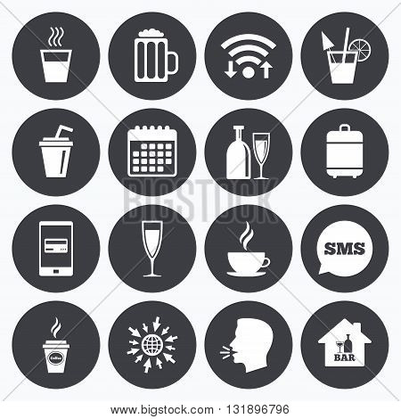Wifi, calendar and mobile payments. Cocktail, beer icons. Coffee and tea drinks. Soft and alcohol drinks symbols. Sms speech bubble, go to web symbols.