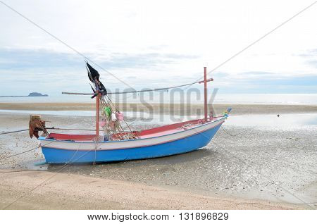 boat at the beach at sunrise in pranburi, Prachuap Khiri Khan, thailand