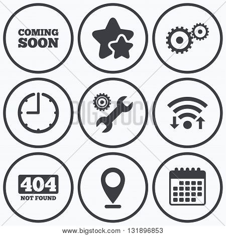 Clock, wifi and stars icons. Coming soon icon. Repair service tool and gear symbols. Wrench sign. 404 Not found. Calendar symbol.