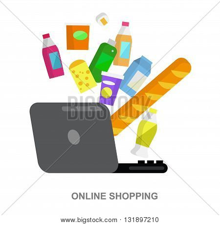 Concept illustration for Shop, supermarket. Supermarket banner flat set with online purchase buying elements . Healthy eating and eco food in supermarket.