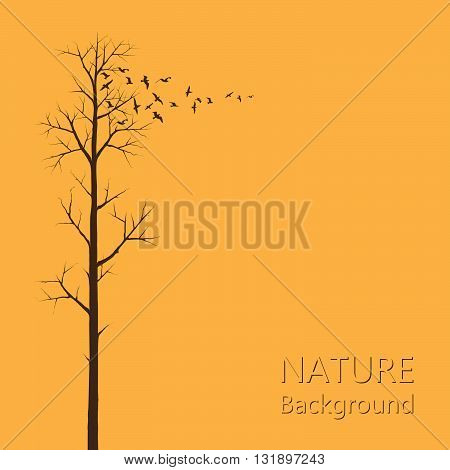 Tree And Birds. Vector Illustration Of A Tree And A Flock Of Birds To Be Used As Nature Background.