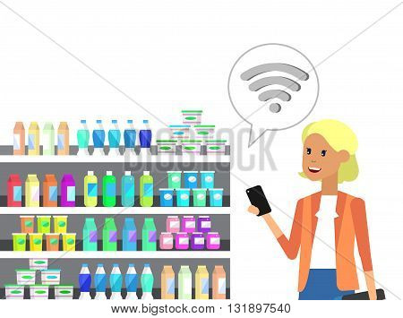 Concept illustration for Shop, supermarket. Vector character woman chooses products in supermarket. Healthy eating and eco food in supermarket. Vector flat illustration for supermarket.