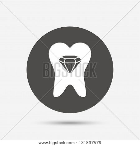 Tooth crystal icon. Tooth jewellery sign. Dental prestige symbol. Gray circle button with icon. Vector