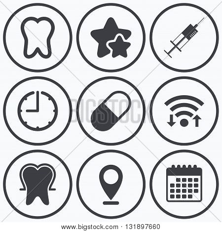 Clock, wifi and stars icons. Tooth enamel protection icons. Medical syringe and pill signs. Medicine injection symbol. Calendar symbol.