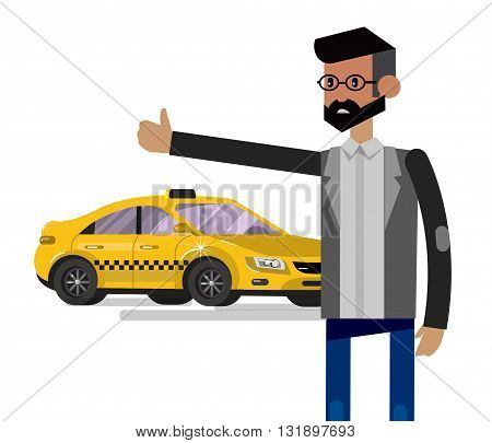 Vector detailed character men with taxi, taxi creative concept, taxi design, yellow taxi. Vector taxi