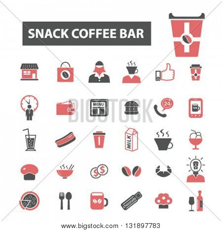 snack coffee bar icons