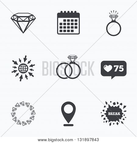Calendar, like counter and go to web icons. Rings icons. Jewelry with shine diamond signs. Wedding or engagement symbols. Location pointer.