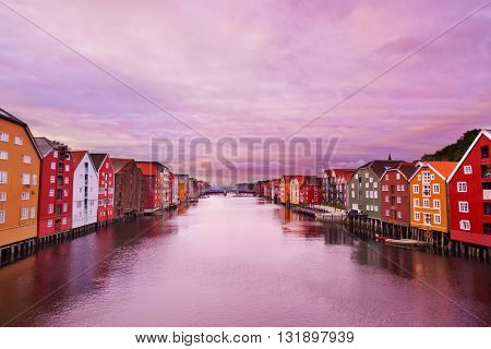 Cityscape of Trondheim Norway at sunset - architecture background