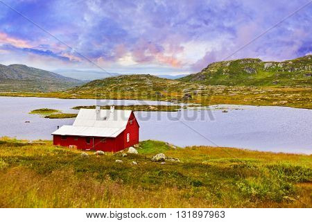 House in Buskerud region of Norway - nature and travel background